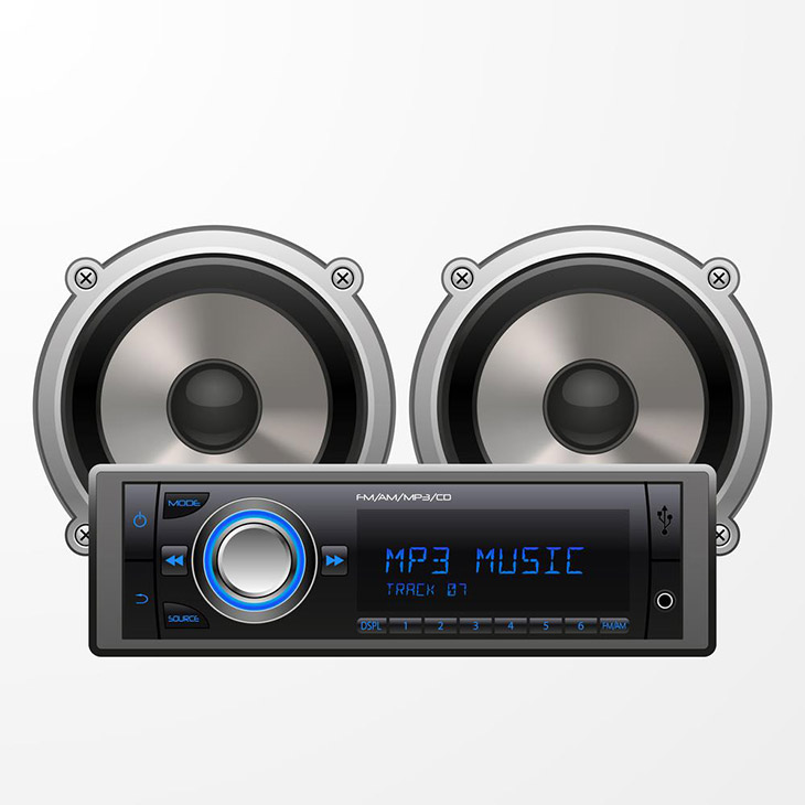 Realistic-Car-Audio-Player-and-Speakers