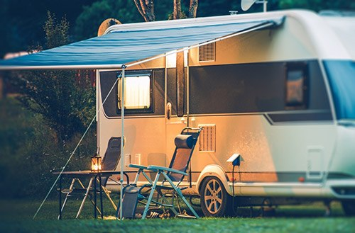 Travel-Trailer-Caravaning.-RV-Park-Camping-at-Night